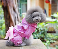 Cute Pets Clothes Dogs Raincoat With Abby Bow White Polka  Dot Raincoat Pink Or Blue 2 Colors  Free Shipping HW247