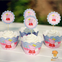 12sets Princess cupcake wrappers&toppers picks decoration kids birthday party baby shower supplies(China (Mainland))