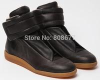 2014 Men Genuine Leather Men Fashion Sneakers Kanye West Hip Hop High Top Marti Velcro Casual Shoes Margiel Men Leather Boots