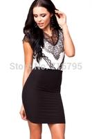 2014 Women Eyelash Adorned Black White Bodycon Dress Free Shipping