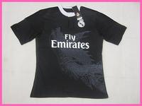 2015 Factory Price Fans Version Real Madrid Third Shirt ,Men Outdoor Real Madrid 14/15 Black Shirt,Size S-XL,Free Ship