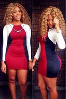 Sexy Club Bandage Dress 2014 Fashion Long Sleeve Clorful Slim Bodycon Dresses,Women Evening Party Dress Mini Clubwear 5394