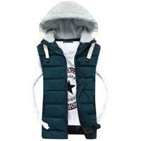 Hot Selling! 2014 New thickening Men winter jacket Fashion Casual Slim Sleeveless hoodies men splicing Vest Men Free Shipping