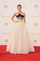 2014 Emmys Awrad Best red carpet Celebrity Dresses with black bow tie evening dresses backless strapless prom dresses WC01