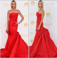 New Red Carpet Dresses Scalloped Mermaid Satin Celebrity Dresses Long To Party 66th Emmy Awards 2014 Prom Dress