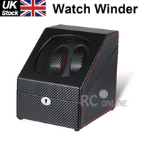 ALG Luxury Gift Black carbon leather Automatic dual Watch Winder leather case Display Box 2+2