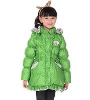 Winter children girls down jackets full sleeve brand medium-long slim parkas kids girl thick warm zipper hooded coats outerwear