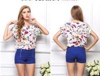 2014 Women Plus Size Blouse Chiffon Shirts T-Shirt  Tops Short  Sleeve Print Loose O-neck All-Match Clothes Brand Summer  CL2023