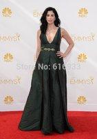 New Arrival Dark Green Sexy V Neck Evening Dresses 2014 Emmy Celebrity dresses Prom dresses custom size vestidos WC03