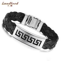 [Landlord] Brand New men bracelet black & brown The Great Wall leather Bracelet 316L Stainless Steel bracelets & bangles PH515