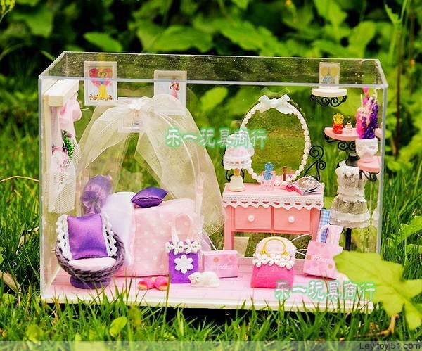 Pink DIY Doll Home With Dust Cover Free Shipping Dollhouse Miniature for Decoration(China (Mainland))