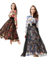 Free shipping 2014 2015 Autumn euro AU UK Russian Arabic Luxury elegant fashion women's long-sleeve one-piece muslim skirt Dress