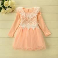 Sweet  Children Long sleeve Lace Yarn  princess dress 3colors 5pcs/lot wholesale autumn