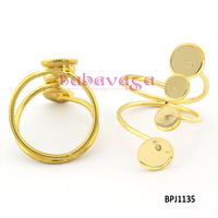 Gold Round Blank Base Adjustable Ring DIY Jewelry Accessories Findings