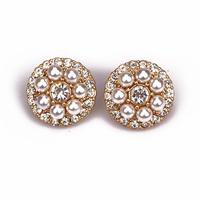 Modern design 2014 fashion round white peal stud earrings for beautiful women free shipping  140822