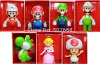 Super Mario Bros Mario Luigi Peach Kinopio Yoshi 7styles PVC Action Figure Collection Toy Doll 9''
