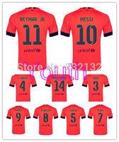 Youth Top Quality 14/15 Kids Away Orange Soccer Jerseys Rafinha Messi Neymar JR Rakitic Luiz SUAREZ Pedro PIQUE Mascherano