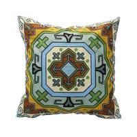 45*45 H&J  Cotton with Embroidery Throw Cushion Cover  Blue Green  Yellow  Flower  Pattern  Rustic  Style 20*20 Inch