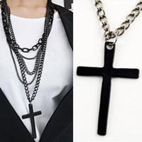 Women's Stylish Multi Layer Cross Pendant Chain Necklace 2014 Girls Fashion Accessories Free Shipping Long Sweater Chain jMPJ331