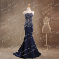 Elegant Long Evening Dresses 2014 Emmy Awards Red Carpet Celebrity Dresses Sheer Neck Formal Evening Gowns Dark Navy 7A687