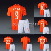 holanda Van persie der vaart Nistelrooy sneijder robben de jong national home orange jersey & short soccer uniform football kits