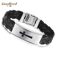 [Landlord] 2014 New Hot Sale men bracelet Stainless Steel Bracelet Buckle Black Wide Knitted Belt Single Cross Bangles PH516