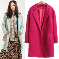 2014 Women Casual Warm Winter Oversized Loose Lapel Slim Long Trench Wind Dust Coat #65089