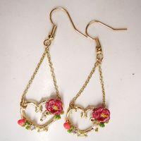 fashion earrings for women 2014 hot selling Peach heart drops of oil rose earrings girls love best