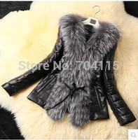 Women's faux slim fashion long-sleeve wool fur coat