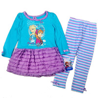 2014 Newest(4sets/lot)Children/kids/girls FROZEN clothing set / suit with a long sleeve dress +Leggings(4 to 7 years)WYX-XH-9841