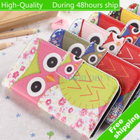 High Quality Owl Pattern Horizontal Flip Leather Case with Holder for Samsung Galaxy S4 i9500 Free Shipping UPS DHL HKPAM CPAM