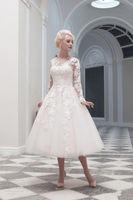 2014 Short Wedding Dresses A-line V-neck Long Sleeves Ankle Length Ivory Appliques Vintage Wedding Gown Bride Dress Bridal Gown