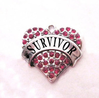 multicolor!  free shipping 100pcs a lot  rhodium  plated  fashion  SURVIVOR  Crystal Heart Pendant accessories