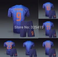 Holanda Van persie der vaart Nistelrooy sneijder robben de jong national away blue jersey and short soccer uniforms football kit