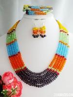 Stock Price Crystal Nigerian Wedding African Beads Bridal Jewelry Set W-1692