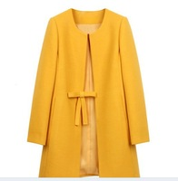 Free shipping Plus size new fall and winter woolen jacket, women's bowtie tweed winter jacket, S/M/L/XL/XXL