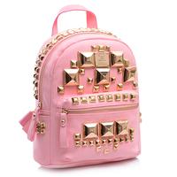 Hot  Rivets Fashion School bags for girls Rock Women Backpacks PU Leather Mochila Feminina Korean Bags Multi-color Rucksack