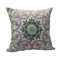 50*50 H&J  Cotton with Embroidery Throw Cushion Cover  Green Pink  Leaves  Pattern Cream Background  Rustic  Style 20*20 Inch