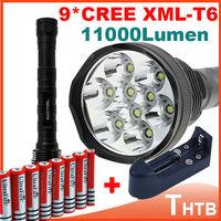 2014 trustfire 11000lm Super tactical 9x CREE XML T6 LED Flashlight Torch electric shocker flashlights 5 Mode 3* 18650 battery