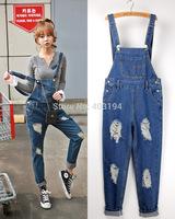 2014 Fashion women Jumpsuit & Romper loose women's jeans long denim bib pant bodysuit  Femme jumpsuit size S M L XL blue YS2