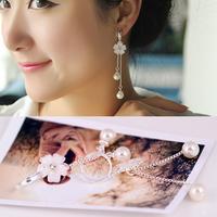 Korean opal jewelry without pierced ears fringed flowers female fashion models temperament long pearl earrings hypoallergenic