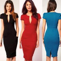 2014 Elegant Ladies' V-Neck Fashion Celebrity Pencil Dress Women Wear to Work Slim Knee-Length Pocket Party Bodycon Dress S-XXL