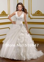 2014 New Fashion Long Beaded White/Ivory Organza Ball Gown V-neck Bridal Gown Wedding Dresses Custom Size