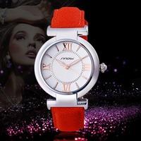 Sinobi Brand Women Dress Watches Casual Girl Rose Golden Leather Strap Quartz Watch Women Fashion Watches