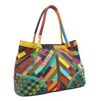2014 women bag fashion women handbag color patchwork bag shoulder bag genuine leather free shipping