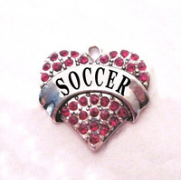 multicolor!  free shipping 100pcs a lot  rhodium  plated  fashion  SOCCER  Crystal Heart Pendant accessories