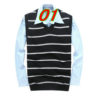 New 2014 Fall Winter Blusas Masculinas Men Vest Sweaters Fashion Casual Slim Simple Striped Men Sweater Vest For Free Shipping
