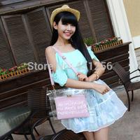 Free shipping 2014 new Brand Designer fashion women's shoulder bag plastic crystal transparent bag jelly bag beach bag