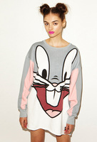 Fashion Hoody Women Hoodies Lovely Cartoon Big Rabbit Patchwork Pullovers Mid-Long Loose Sweatshirt Plus Size HO8020