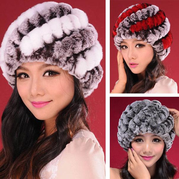 Free Shipping New Women Real Knitting Rex Rabbit Fur Cap headgear headdress Fashion lady Hats girl winter warm headband CW3150(China (Mainland))